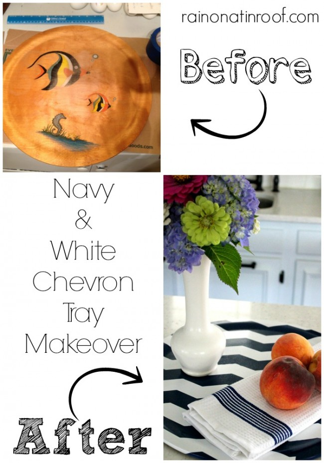 Navy and white chevron tray from Rain On A Tin Roof