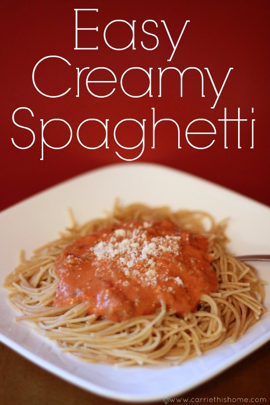aghetti--the secret ingredient is cream cheese!