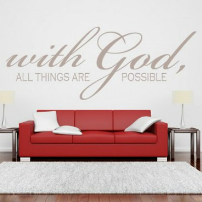 With God All Things Are Possible Quote Wall Stickers Wall Art Decal