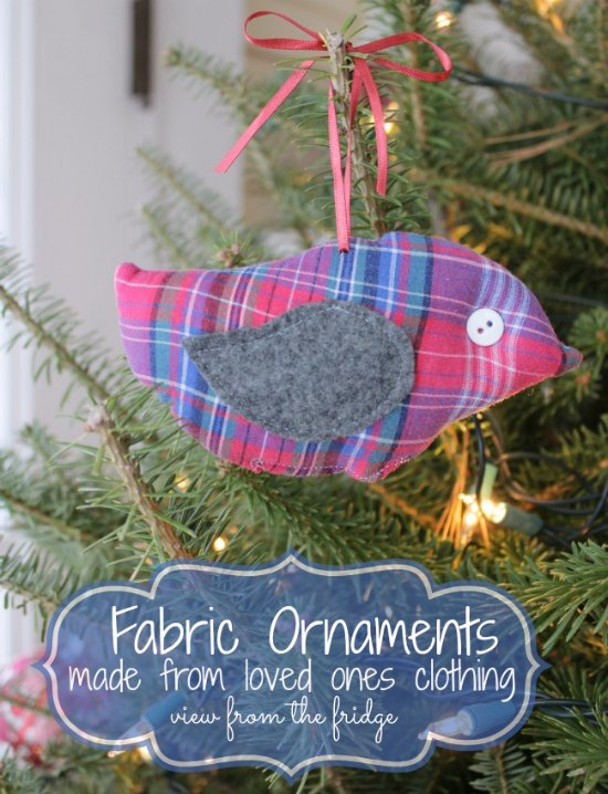 Homemade ornament from loved one's clothes