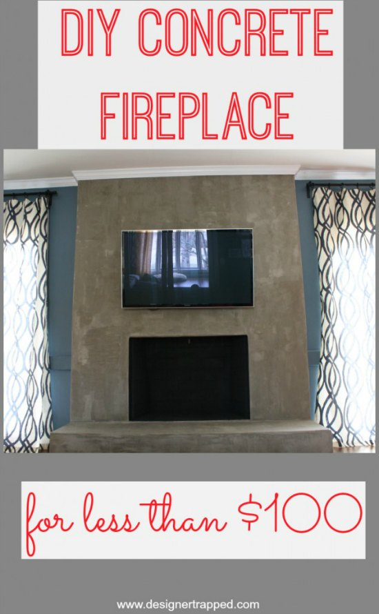 DIY Concrete Fireplace for less than $100