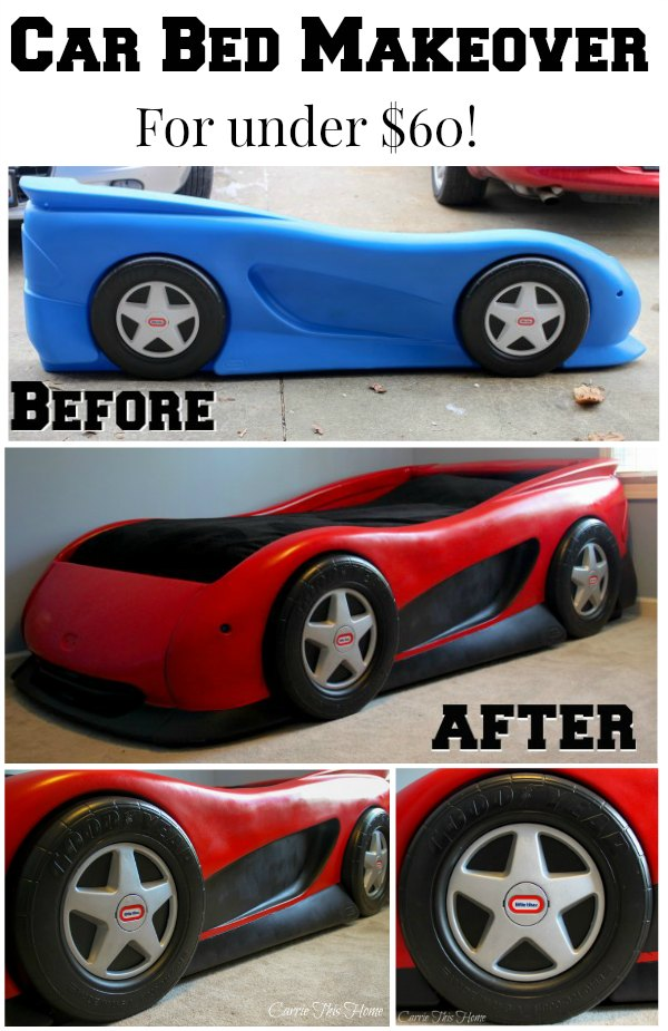 Now THIS is a car bed! Learn how to make a regular car bed epic for under $60!