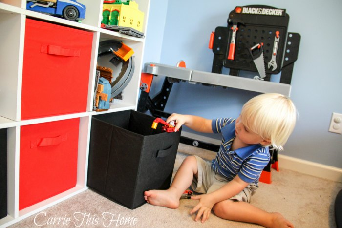 One tip for tackling clutter is to make it easy for children to clean up!