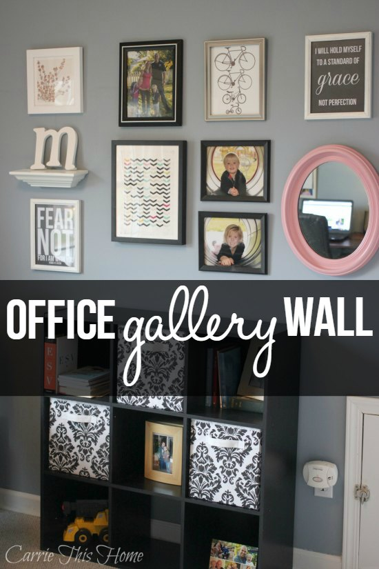 As you walk into the office, the gallery wall is now the focus point of the room. The gallery had to include some photos of my sweet family, inspirational quotes, and beautiful artwork. Office Gallery Wall
