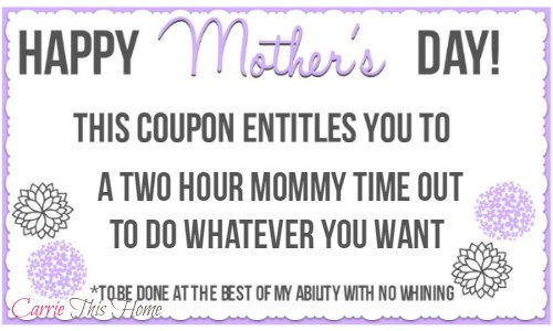 My favorite free printable Mother's Day Coupon