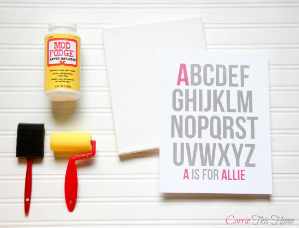 DIY baby annoucement canvas supplies