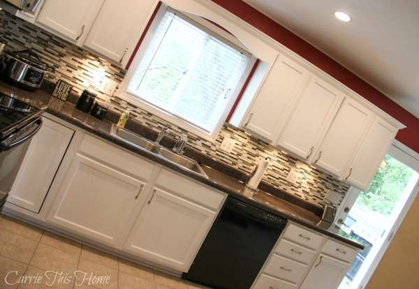 Beautiful backsplash and countertops done on a budget!