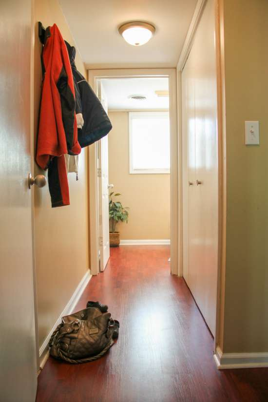 Turn a little hallway into a 'fake' mudroom with this tutorial!