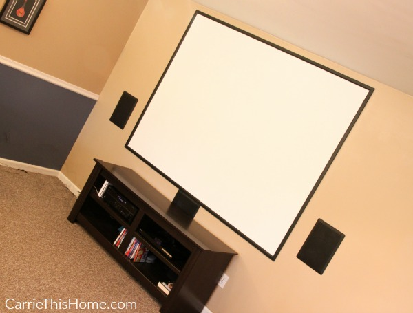 Our home movie theater includes a 90 inch screen!