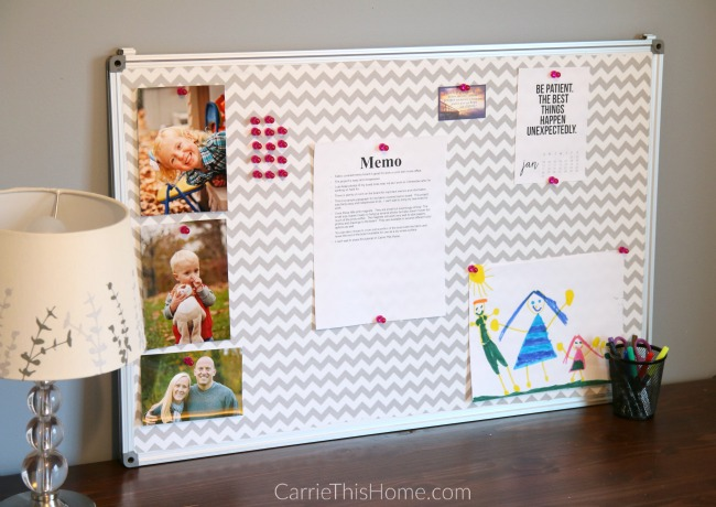 This is a must-have accessory for your desk! Love this fabric covered bulletin board!