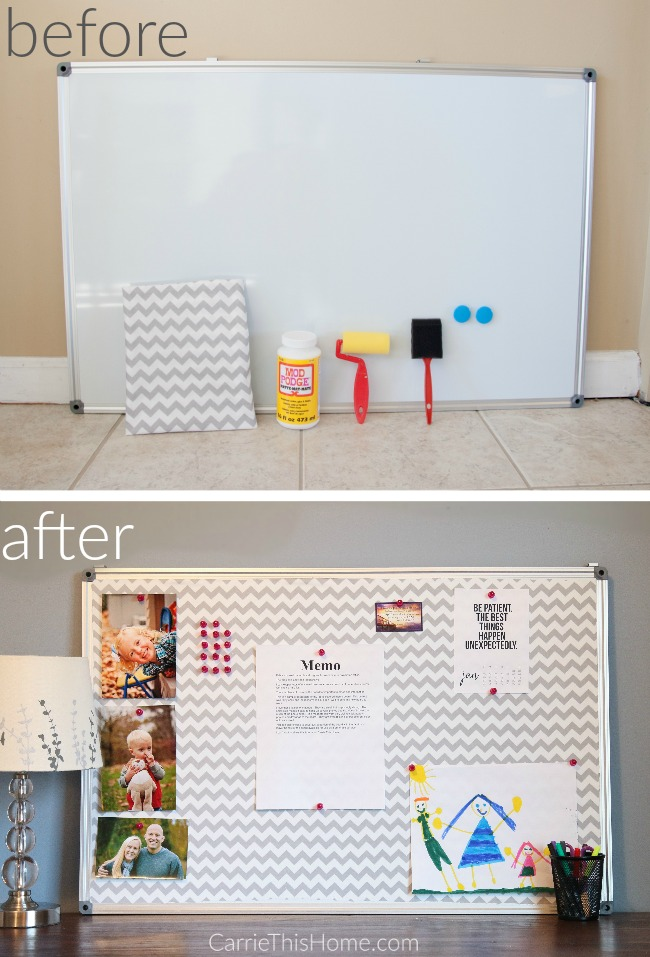 easy do it yourself fabric covered bulletin board before and after