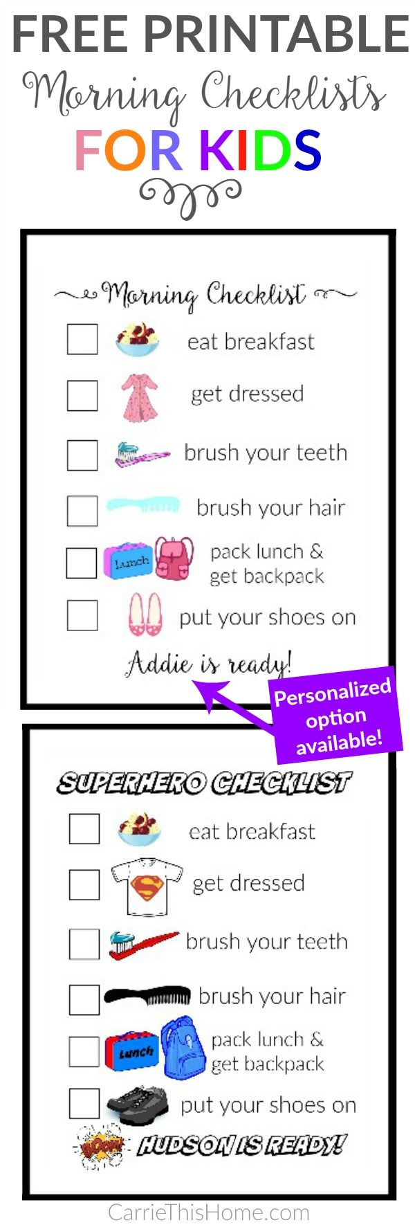 Free printable morning checklists for kids