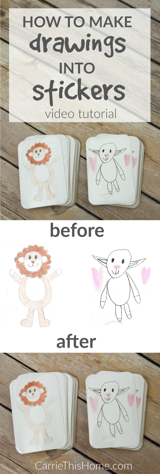 Turn your childs masterpieces into stickers the easy way! This quick video will show you how to make drawings into stickers in just minutes