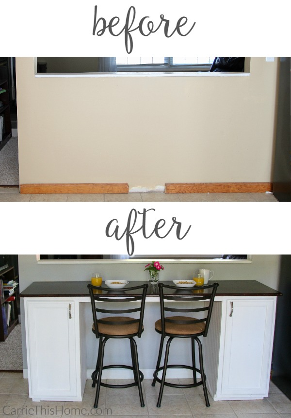 DIY breakfast bar before and after from CarrieThisHome.com