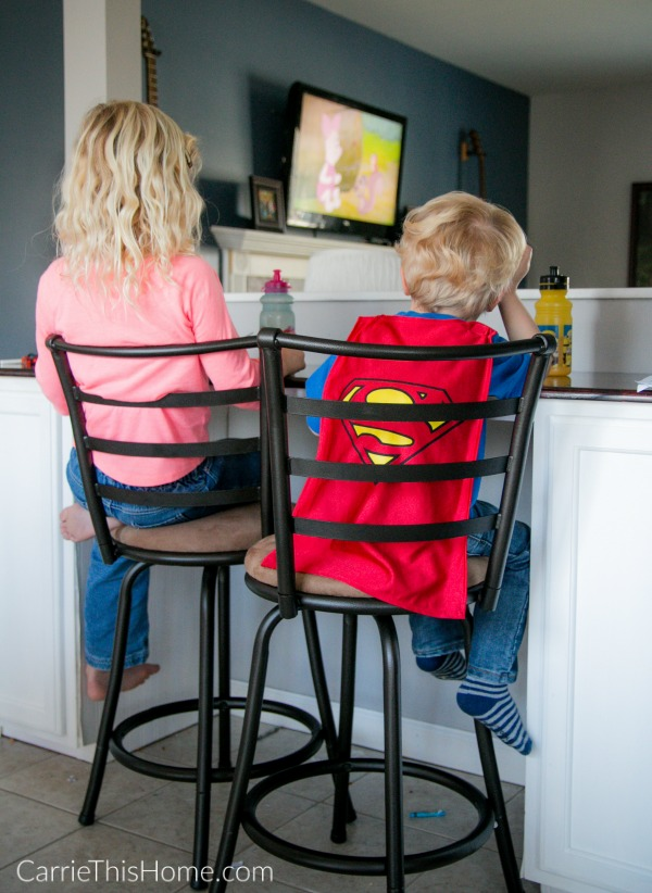 This DIY breakfast bar makes a great place for the kids too! From CarrieThisHome.com