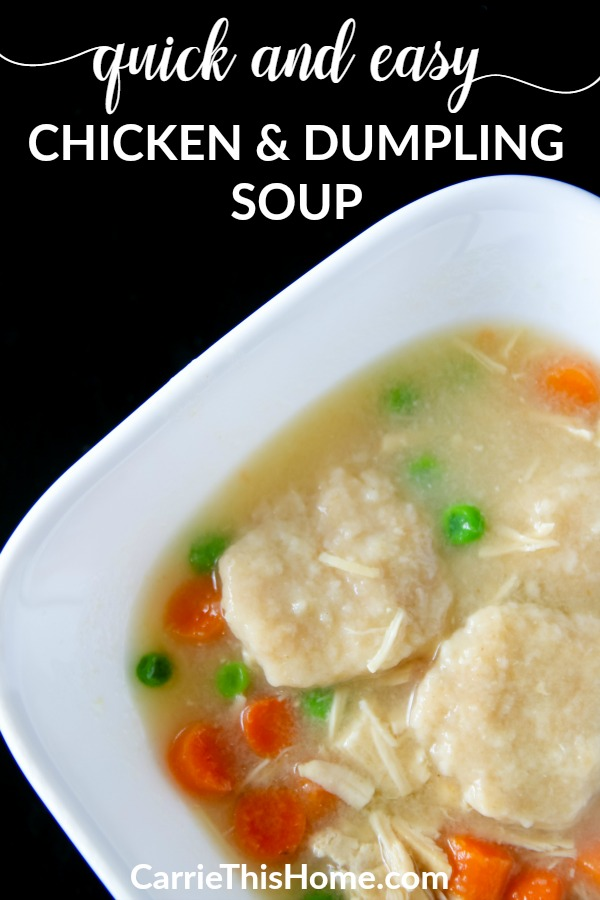 Easy & delicious! Some mart time-saving tricks brings this staple to your table in minutes! Quick & Easy Chicken and Dumpling Soup from CarrieThisHome.com