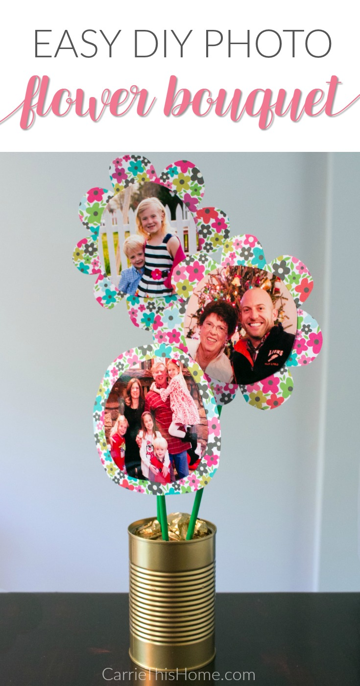 Perfect for Mom, parents, and grandparents alike! this easy DIY photo flower bouquet makes a great meningful gift for #MothersDay from CarrieThisHome.com