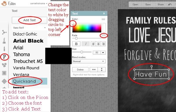chalkboard family rules tutorial