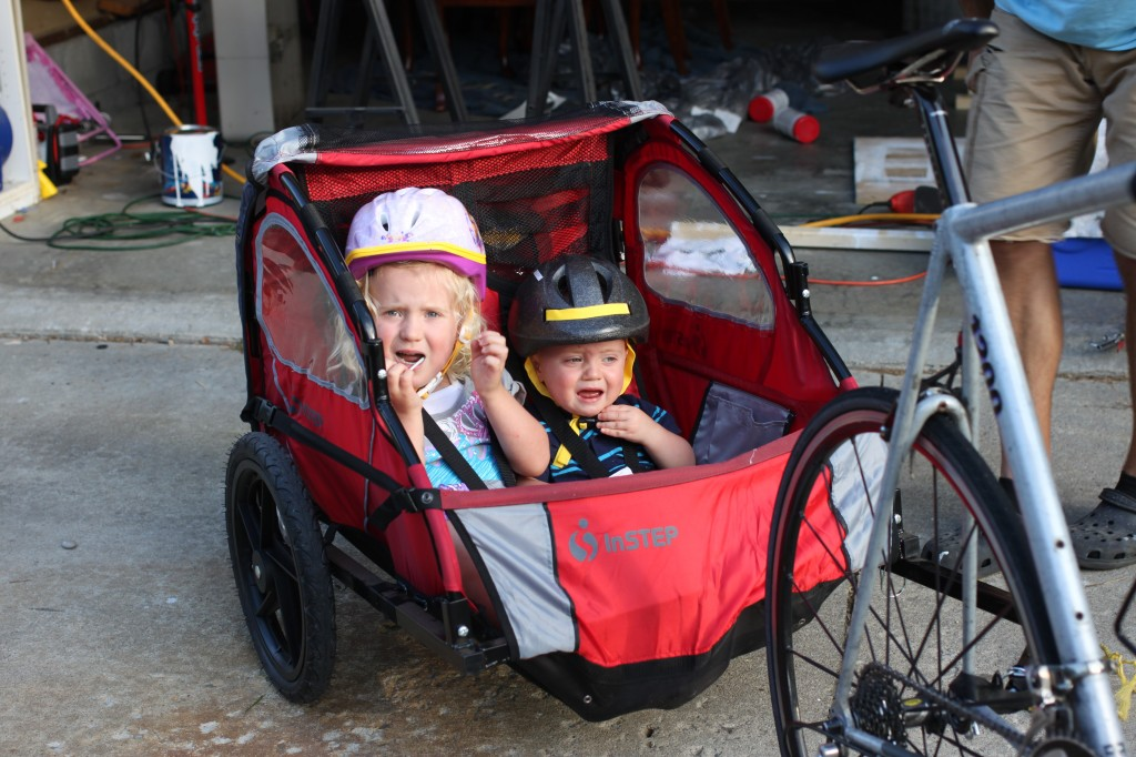 First ride in the bike trailer--epic fail.