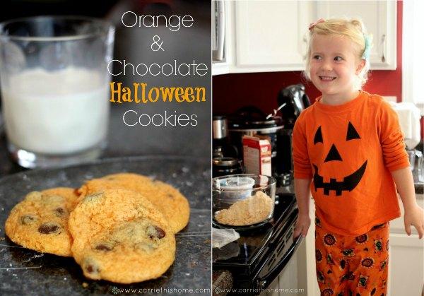 Orange & Chocolate Halloween Cookies--fun to make with kids!