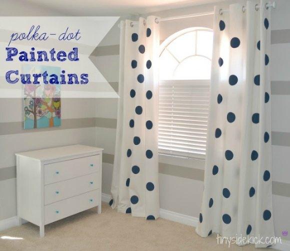Polka dot painted curtains from Tiny Sidekick