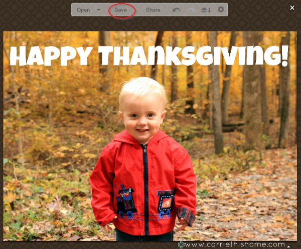 How To Make A Picture Thanksgiving Card