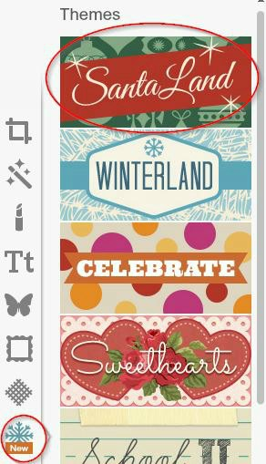 To add cute effects to your Christmas card use the Santa Land theme