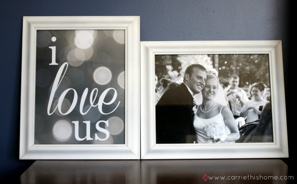 Easy and quick frame makeover.  It's amazing what a little paint will do!