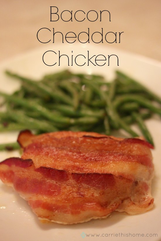This Bacon Cheddar Chicken is awesome! The crisp bacon and flavorful cheddar cheese adds wonderful flavor to chicken.  Super easy to make, too!