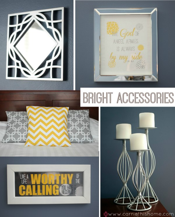 Use bright accessories with a rich dark wall color!