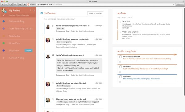 CoSchedule is perfect for blogs with multiple authors. Everyone has access to the same schedule and can stay organized!