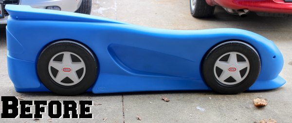 Little Tikes Blue Car Bed: Car Bed Makeover For Under $60