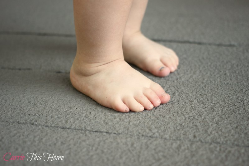 Make your deck safe for baby feet! Here's a budget friendly way to seal in splinters for good!