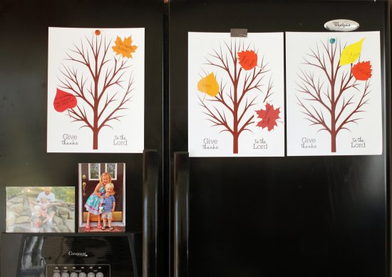 Thankful trees are proudly displayed on our fridge!