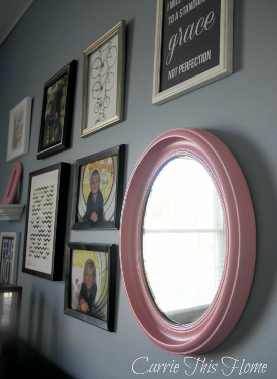 All you need is a little time and five dollars and you can give an old mirror new life!  The Five Dollar Mirror Makeover