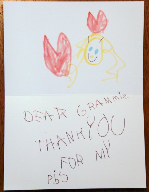Precious thank you note from a five year old