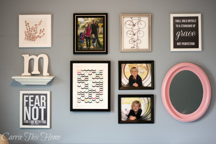This office gallery wall wouldn't be complete without the 5 Dollar Mirror!