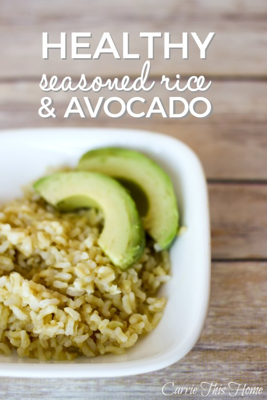 The creaminess of the avocado paired with the seasoned rice makes for a healthy meal that tastes like an indulgence!  Healthy Seasoned Rice and Avocado