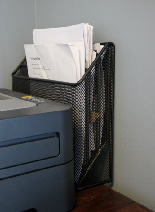 Use vertical storage on your desk to save room and stay organized!