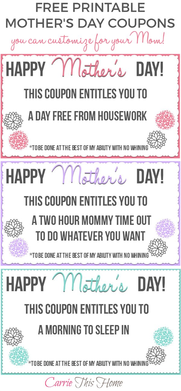THIS is what moms really want for Mother's Day! A morning to sleep in. Time to get coffee with a friend. Print these out, give them to your Mom and you'll make her day!