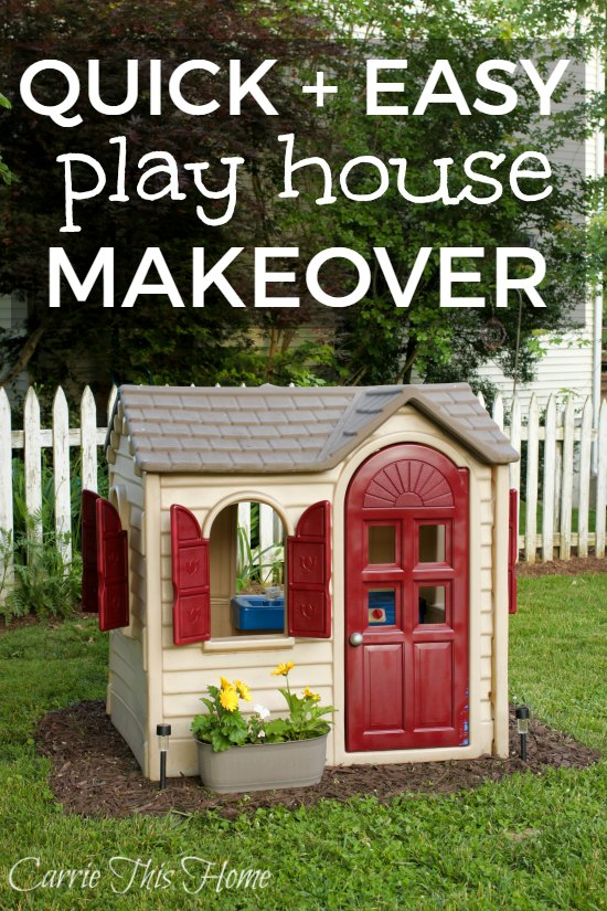 This amazing Little Tikes play house makeover is a must-pin! So quick and easy and makes a huge difference!