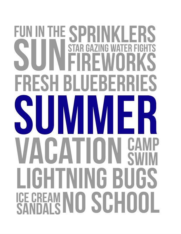 Summer Fun Free Printable Navy Blue (for personal use only)