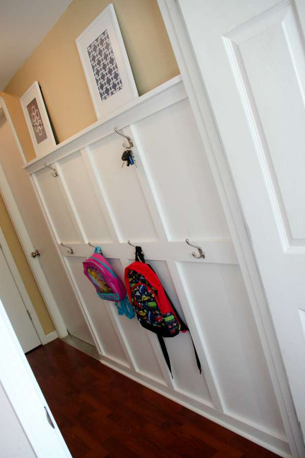 Beautiful board and batten make this hallway mudroom beautiful and functional!