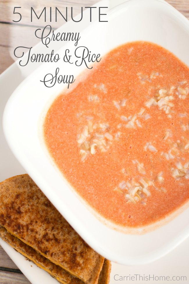 Easy, healthy and delicious! This creamy tomato and rice soup is perfect for a cold winter day!