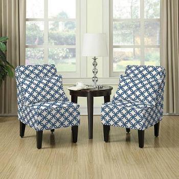 Dani armless accent chair set, blue