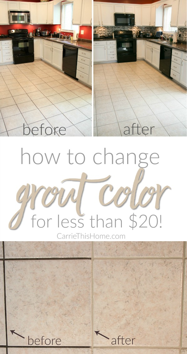 Easy way to change the color of your grout (without tearing it out!) How to change grout color for less than $20! from CarrieThisHome.com