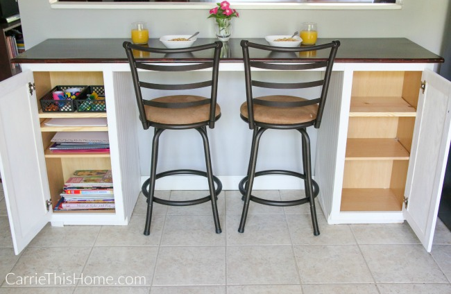 A breakfast bar can offer extra seating, craft storage and more! Do this easy project with the help of CarrieThisHome.com!