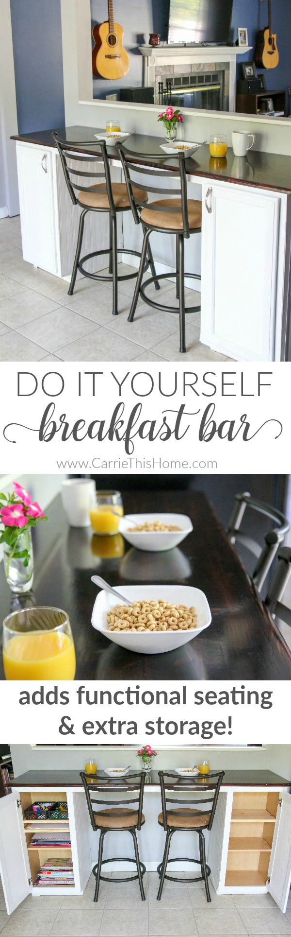 Easy way to add more seating and storage to your home! This DIY breakfast bar is easy & can be done in a weekend! See the full tutorial at CarrieThisHome.com