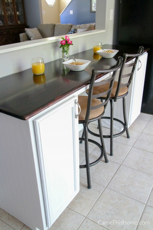 beautiful DIY breakfast bar that you can easily build in a weekend. Tutorial from CarrieThisHome.com