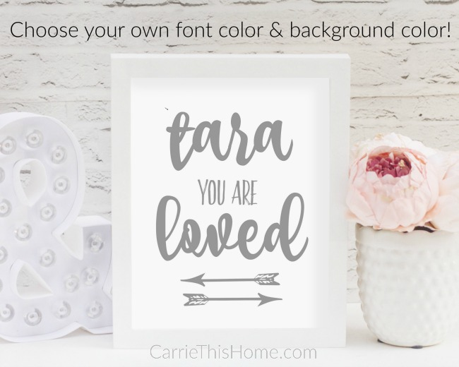 Custom you are loved sign from Custom You Are Loved sign from http://www.etsy.com/shop/CarrieThisHome